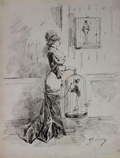 Henry SOMM (1844-1907).  Elégante à la cage....