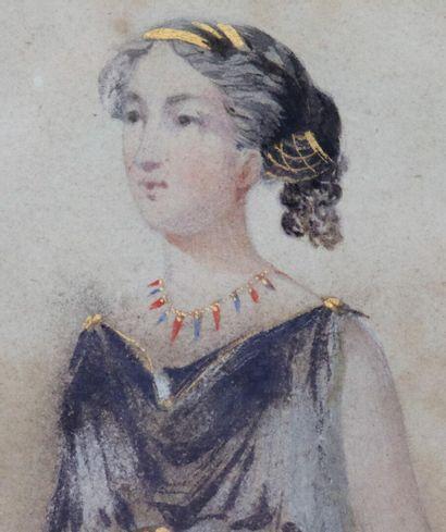 Ecole française du début du XIXème siècle.  Femme à l'antique.  Aquarelle et rehauts...