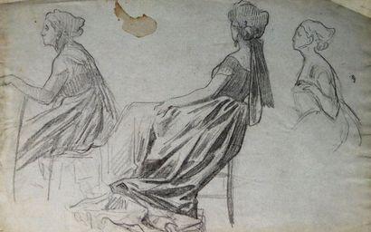 Ecole française du XIXème siècle.  Etudes...