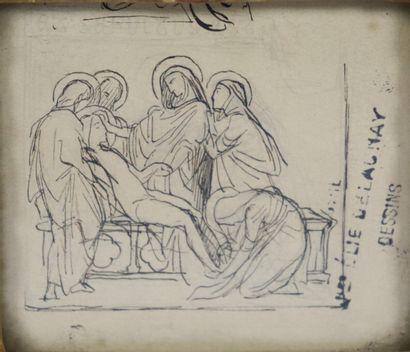 Jules Elie DELAUNAY (1828-1891).  La descente de croix.  Dessin à l'encre, signé...