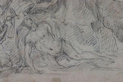 Ecole française du XVIIème siècle.  Déploration sur le Christ mort.  Saint Roch...