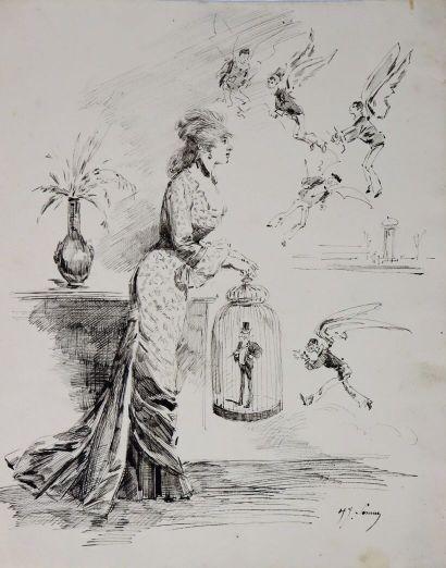 Henry SOMM (1844-1907).  Le nouveau venu....