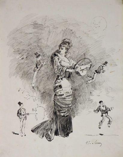 Henry SOMM (1844-1907).  Au suivant.  Encre...