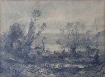 Émile NOIROT (1853-1924)  Paysage.  Fusain....