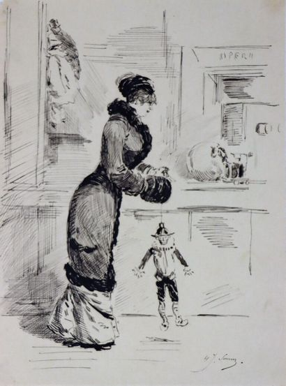 Henry SOMM (1844-1907).  Elégante au pantin...