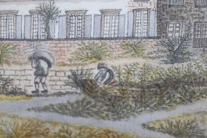 Ecole étrangère de la fin du XVIIIème siècle.  Plantations devant une demeure, probablement...