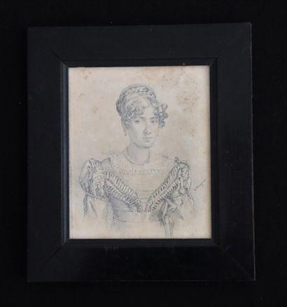 Ecole française d'époque Consulat.  Portrait de femme.  Dessin au crayon, signé...