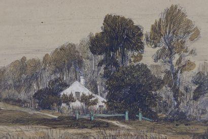 Camille FLERS (1802-1868)  Vue de Montfermeil.  Crayon noir et aquarelle  Signé,...