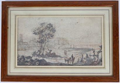 Ecole française du XVIIème siècle.  Paysage d'Italie.  Encre, lavis et traits de...