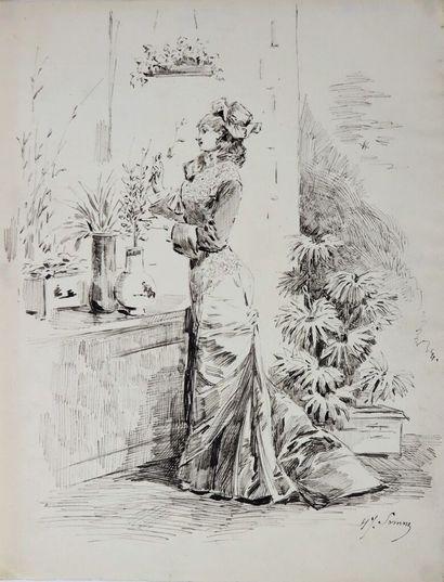 Henry SOMM (1844-1907).  Elégante aux fleurs...