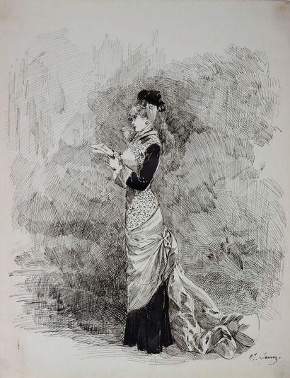 Henry SOMM (1844-1907).  Elégante à la lettre....