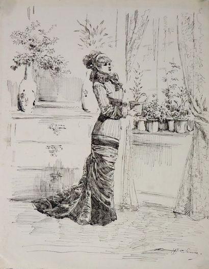 Henry SOMM (1844-1907).  Elégante aux fleurs....
