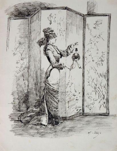 Henry SOMM (1844-1907).  Elégante à la marionnette...