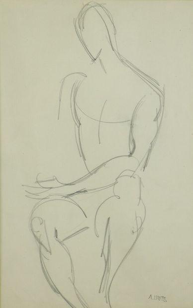 André LHOTE (1885-1962).  Nu masculin assis....