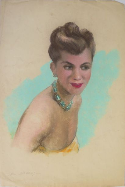 Louis AZNARD (1910 - ?).  Etude, Mlle Helene...