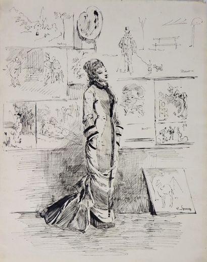 Henry SOMM (1844-1907).  Elégante au Salon....