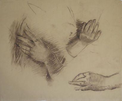 Louis AZNARD (1910 - ?).  Etudes de mains....