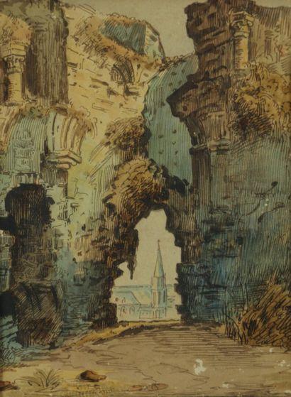 Ecole française du XVIIIème siècle.  Ruines ouvrant sur un édifice religieux.  Dessin...