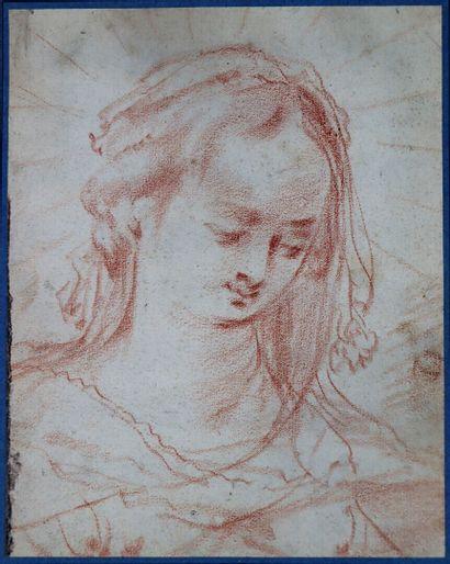 Attribué à Jean de SAINT-IGNY (vers 1595-1649)  Etude de tête  Sanguine  18,3 x...