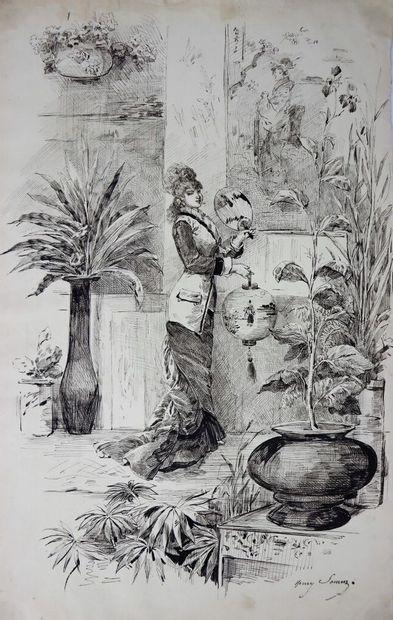 Henry SOMM (1844-1907).  Jeune femme à l'éventail...