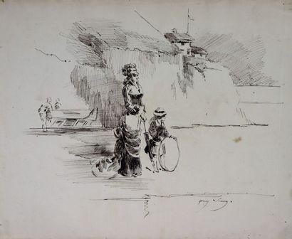 Henry SOMM (1844-1907).  Elégante et sa fille...