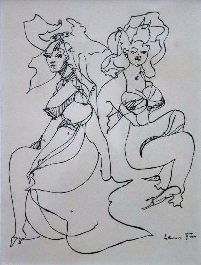 Leonor FINI (1907-1996).  Femmes.  Dessin...