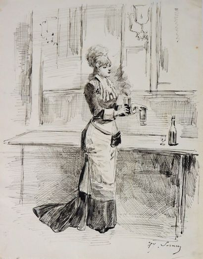 Henry SOMM (1844-1907).  Un dernier verre....