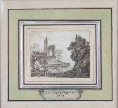 Ecole française du XVIIIème siècle.  Paire de paysages à l'antique animés.  Encre...