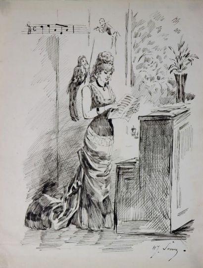 Henry SOMM (1844-1907).  La musicienne.  Encre...