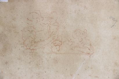 Ecole française du XVIIIème siècle.  Académie d'homme nu.  Dessin à la sanguine...