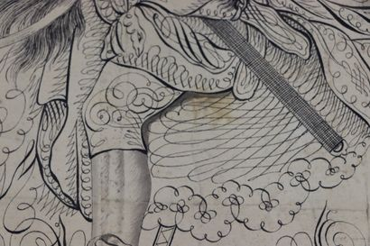 AUVREST (actif à Paris vers 1780-1820).  Louis Seize, à cheval.  Encre et lavis...
