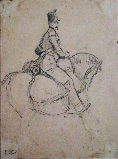 Louis Eugène CHARPENTIER (1811-1890).  Etude de soldats.  Réunion de deux dessins...