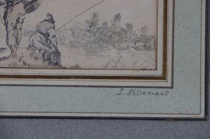 Ecole française du XVIIIème siècle.  Les pêcheurs.  Lavis d'encre.  Le cartouche...