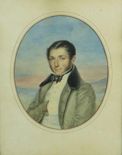 Ecole française vers 1830.  Portrait d'homme au noeud papillon.  Aquarelle sur papier,...