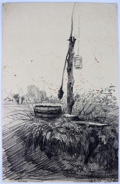 Camille FLERS (1802-1868)  Le puits.  Fusain et aquarelle.  Signé et daté 1860....