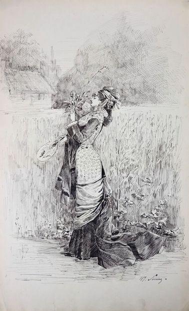 Henry SOMM (1844-1907).  Elégante à l'éventail...