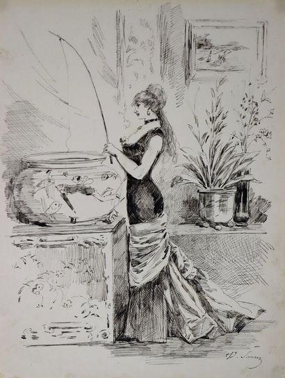 Henry SOMM (1844-1907).  Partie de pêche....