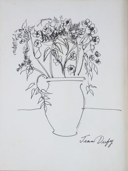 Jean DUFY (1888-1964).  Bouquet de fleurs....