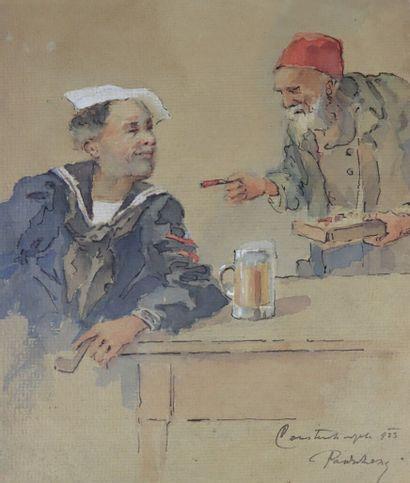 Ecole étrangère, 1923.  Deux orientaux à...