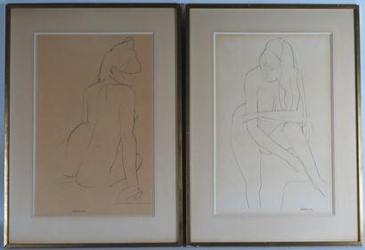 René ARTOZOUL (1927-2015).  Femme nue.  Deux...
