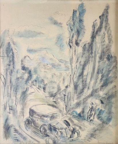 Hermine DAVID (1886-1970).  Voiture sur route...