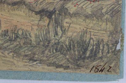 Camille FLERS (1802-1868)  Route d'Aumale.  Crayon noir et aquarelle  Signé, situé...