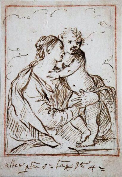 Ecole du XVIIIème siècle  Vierge à l'enfant - Vénus et Jupiter.  Réunion d'un dessin...