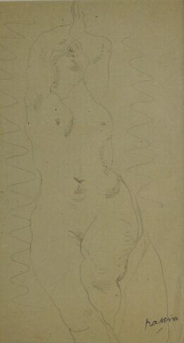 Jules PASCIN (1885-1930).  Nu.  Crayon, signé...