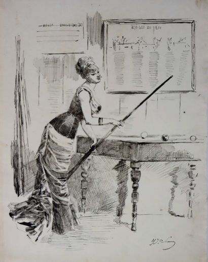 Henry SOMM (1844-1907).  La joueuse de billard....