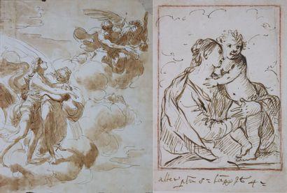 Ecole du XVIIIème siècle  Vierge à l'enfant...
