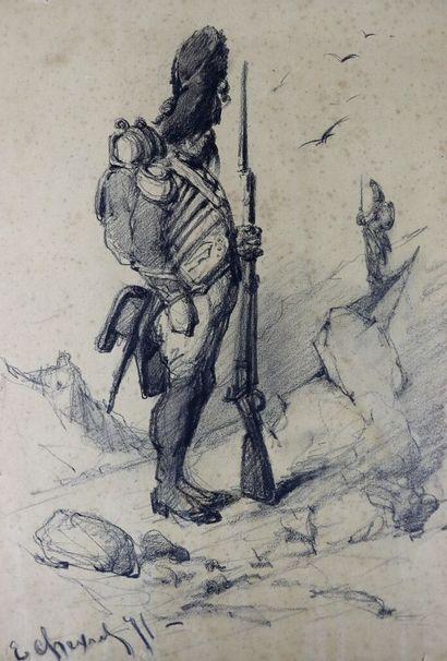 Edouard CHEVRET (1835-1874).  Grenadier....