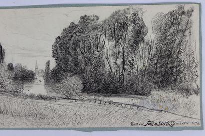 Marie Abraham ROSALBIN DE BUNCEY (1833-1891).  Vue de Bezons, Toussaint 1876.  Crayon...