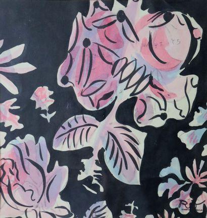 Raoul DUFY (1877-1953).  Roses sur fond noir....
