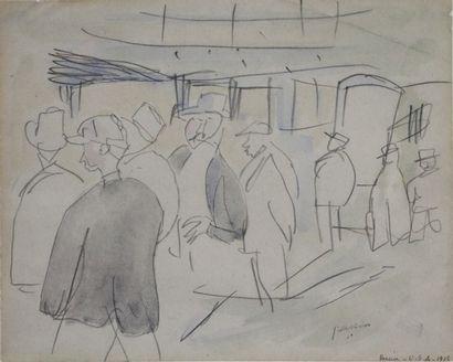 Jules PASCIN (1885-1930).  En attendant le...
